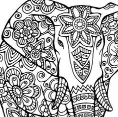 Elephant Coloring Page to Print and Color, Nature, Flowers, Adult Coloring Page…