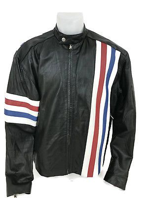 Easy Rider Red White Blue Flag Color Striped Black Motorcycle Moto Jacket Mens L