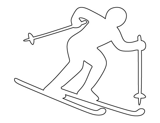 Skier pattern. Use the printable outline for crafts, creating stencils, scrapbooking, and more. Free PDF template to download and print at http://patternuniverse.com/download/skier-pattern/