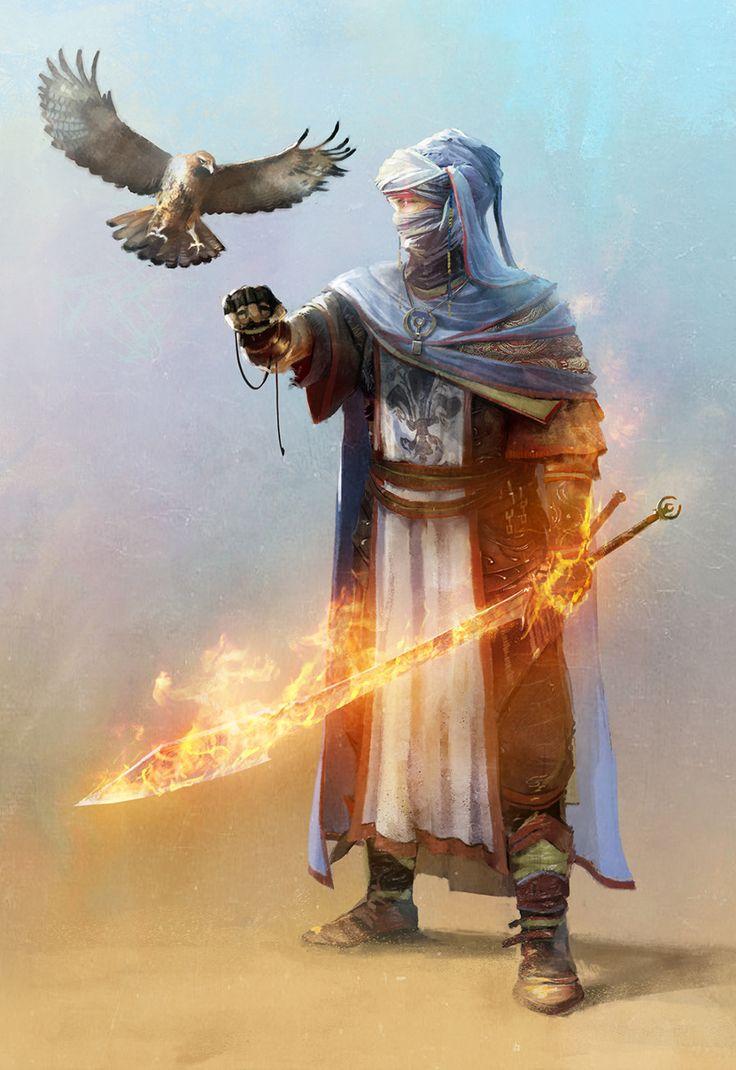 CRYTEK - Maciej Kuciara. Warrior with hawk and flaming sword
