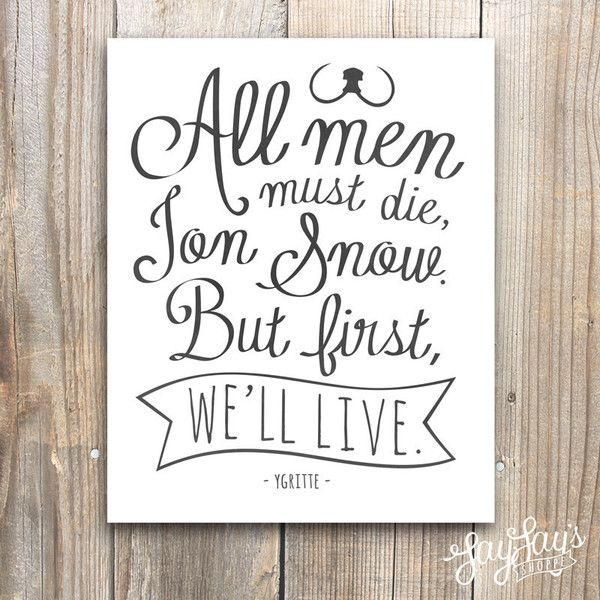 Game of Thrones Ygritte Wildlings Quote Wall Art Print, Typography,... (370 THB)…