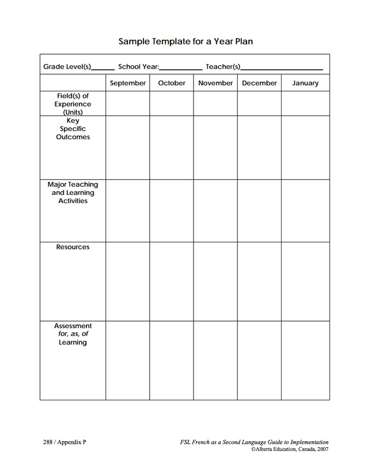 Alberta Education long range plan templates (black and white PDF)