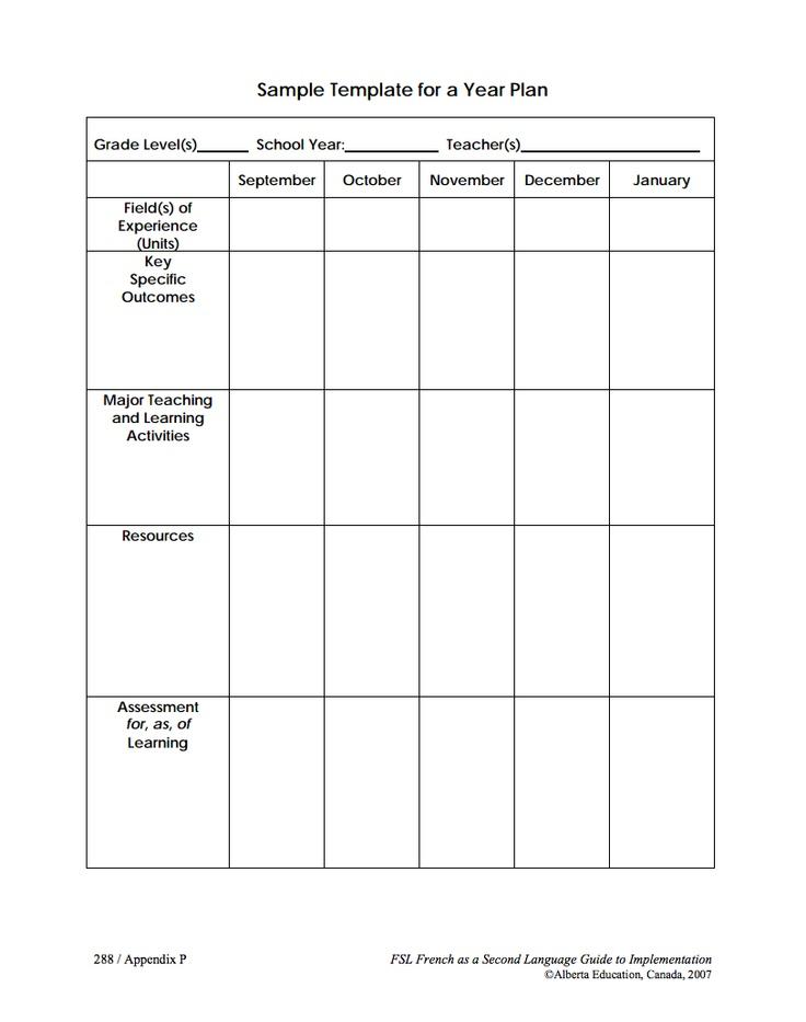Alberta Education long range plan templates (black and