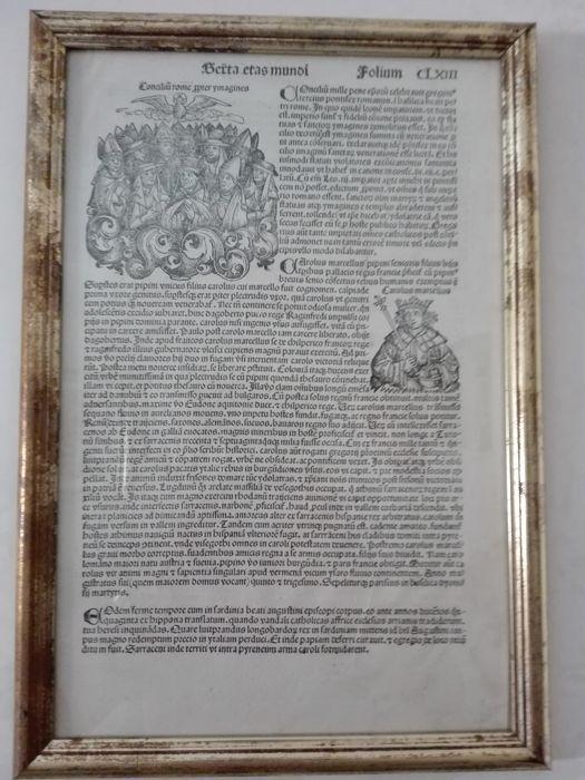 Blad van Hartmann Schedel van Liber Chronicarum - 1493  Hartmann Schedel - Liber Chronicarum blad CLXIII - Nürnberg - Anton Koberger (1440-1513) 1493-35  32 cm - Latijnse editie.Voorwaarde: in goede staat - met lichte plekken met de gebruikelijke symptomen van leeftijd.Hartmann Schedel was een Duitse arts humanist en historicus en een van de eerste cartografen die vroeger de drukpers.Zijn belangrijkste werk is de zogenaamde Kroniek van Neurenberg vanaf het jaar 1493.Zal worden zorgvuldig…