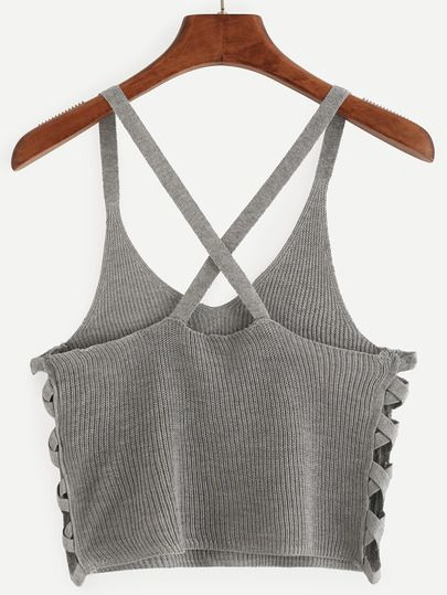 Top tejido crop cami -gris
