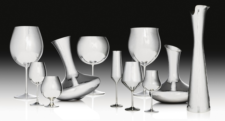 Group of Glasses and Decanter in Silver 925