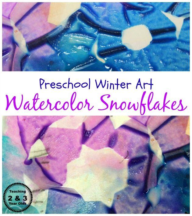 Easy Winter Watercolor Snowflakes