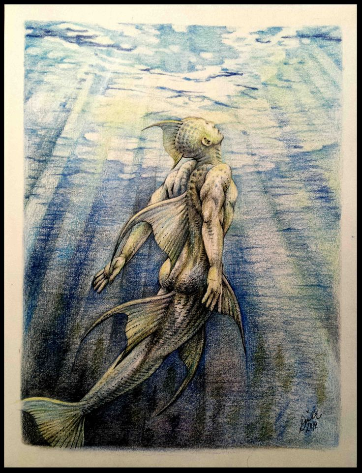 'Up to the Surface' (My merman concept) (22x28cm, D&R Sketchbook, Derwent Coloursoft and Graphitint, KOH-I-NOR graphite and Mondeluz pencils, ink, 14.4.2014)