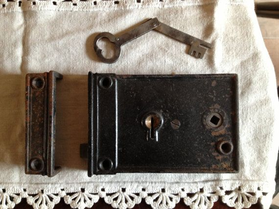 Vintage Antique Door Knob Lock with Key and Strike by OpenSaysAMe, $49.00