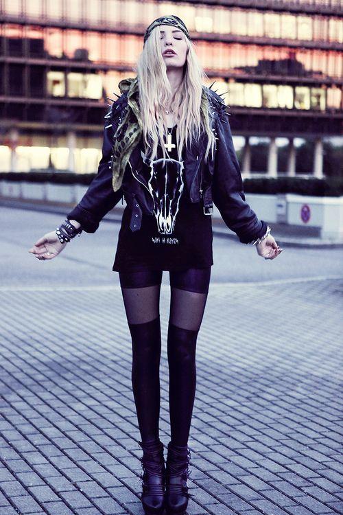 Rocker chic - spiked leather jacket, sheer panel leggings, rocker tee.