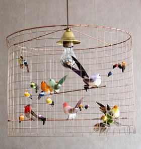 Wire bird cage lighting. Kids Rooms. #tinylittlepads @tinylittlepads www.tinylittlepads.com