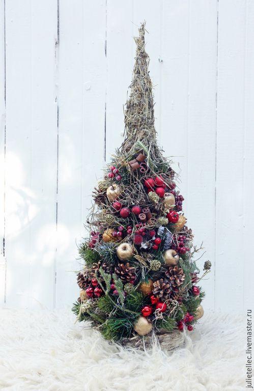 Купить Елочка Грильяж - бордовый, зеленый, елка, настольная елка, подарок, украшение интерьера