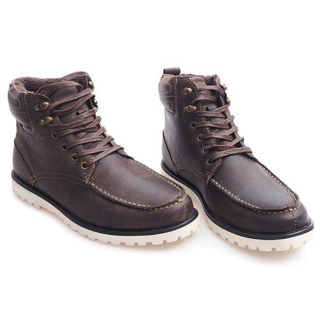 Ocieplane Wysokie Trapery Polbuty Sh26 Brazowy Brazowe Boots High Boots Shoe Boots