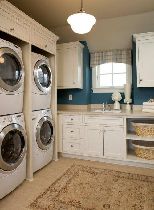 Double Washer/Dryer Idea: Dreams Laundry Rooms,  Automat Washer, Washer And Dryer, Wall Color, Dreams House, Wash Machine, Rooms Ideas, Laundry Baskets, Large Families