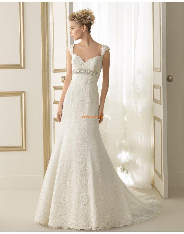 Axelbandslös Plus storlekar Ärmlös Vintage Bröllopsklänningar