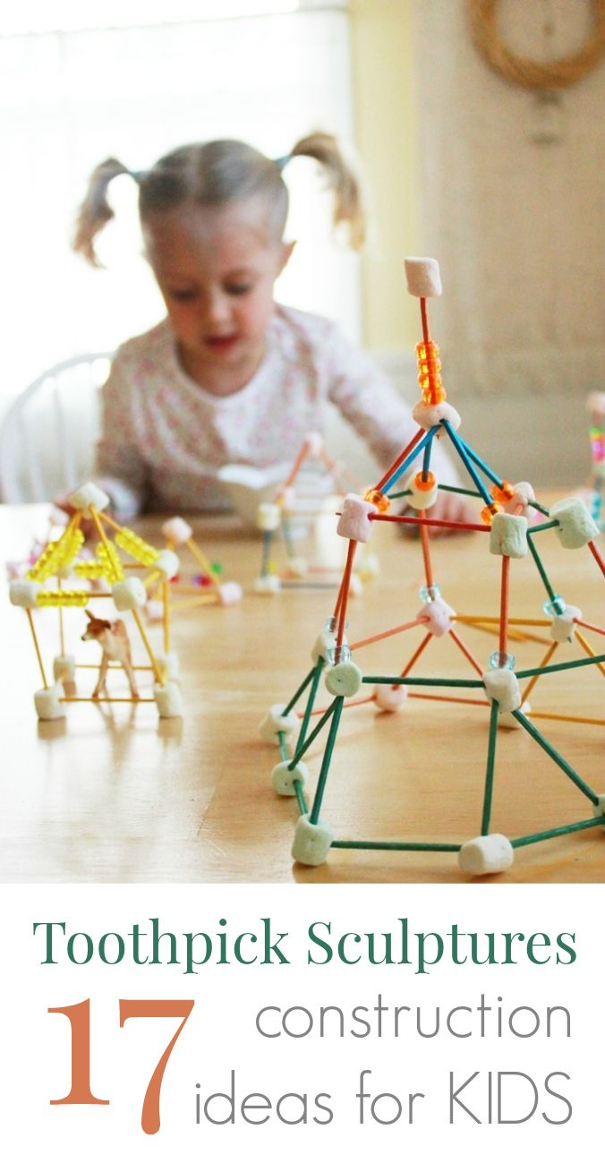 Toothpick Sculptures for Kids--13 great construction ideas for kids using toothpicks!Construction Kids, Fun Toothpick, Construction Ideas For Kids, Awesome Ideas, 17 Fun, Toothpick Construction, Construction Projects For Kids, Toothpick Sculpture, 13 Fun