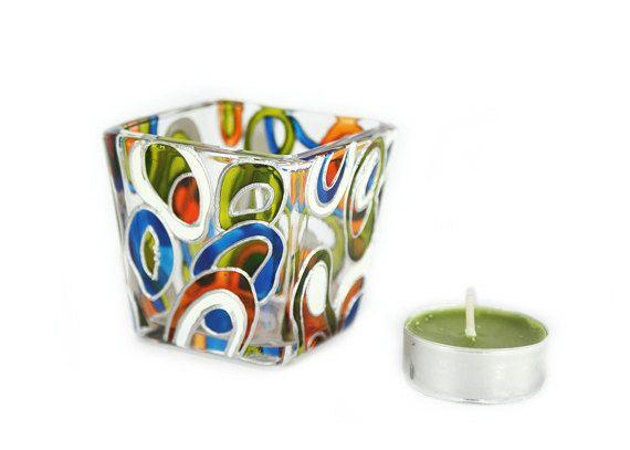 Verre bougie titulaire thé léger peint à la main mini bougie titulaire peint à la main verre vitrail conception abstraite orange verte de blanc bleu
