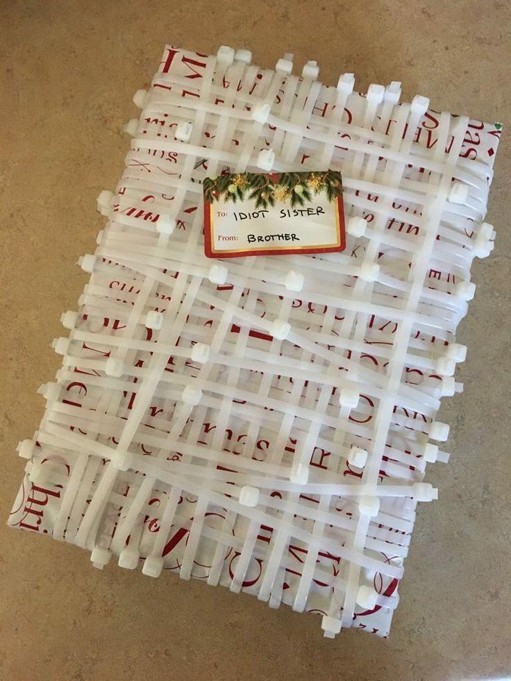 Haha, sibling gift wrapping!!