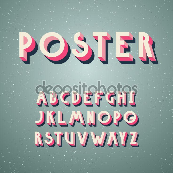 Деко Винтаж плакат шрифта, шрифт. Набор в стиле ретро Латинской буквы