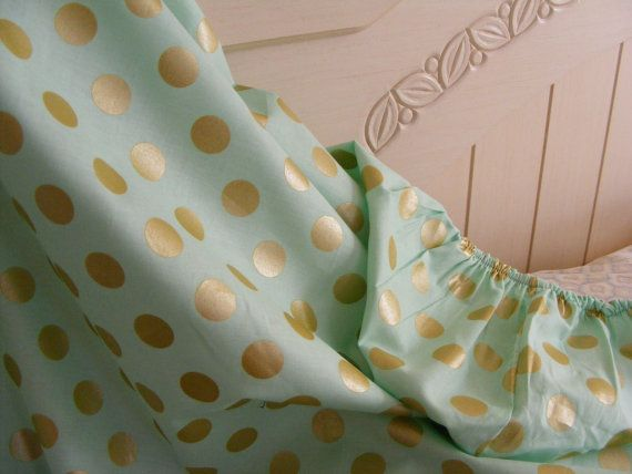 Fitted Crib Nursery Sheet Baby Mint / Mist Gold Pearl Mist on Etsy, $15.00