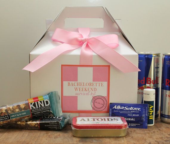 Set of 8 - Bachelorette Weekend Survival Kit Boxes // Hangonver Kit // Wedding Weekend Survival Kit // Bachelorette Party Favor on Etsy, $33.06 AUD So doing this for my friends bachelorette party!!