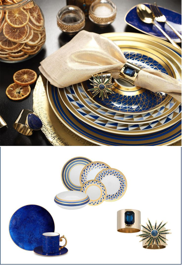 Beautiful blue and gold crockery designs - Luxury Christmas designs and inspiration from Luxdeco. Injecting Festive glamour into the home.