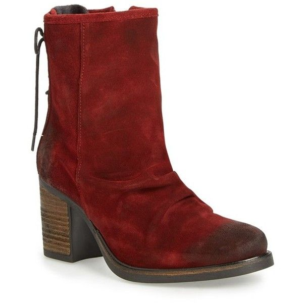 Women's Bos. & Co. 'Barlow' Waterproof Suede Bootie ($195) ❤ liked on Polyvore featuring shoes, boots, ankle booties, scarlet oil suede, slouch ankle boots, suede ankle booties, suede boots, slouchy ankle boots and suede bootie