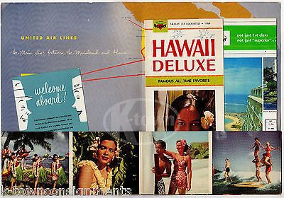 UNITED AIRLINES VINTAGE GRAPHIC ADVERTISING HAWAIIN FLIGHT PACKET & FLYERS