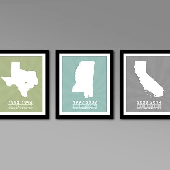 Multiple States Residence Wall Art Series – Personalized Map Art – All 50 States – For military families and cross country family members