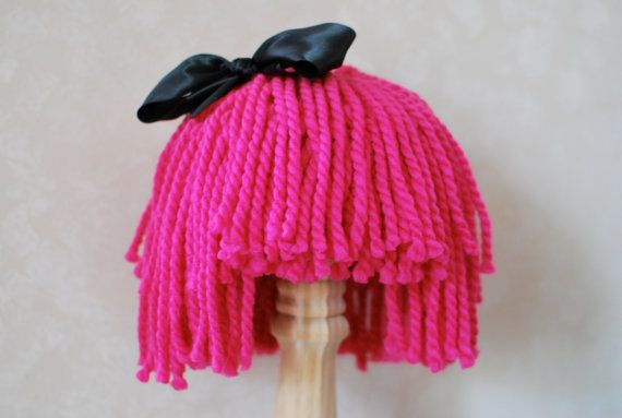 Hey, I found this really awesome Etsy listing at http://www.etsy.com/listing/151948161/yarn-hair-wig-pink-with-black-ribbon