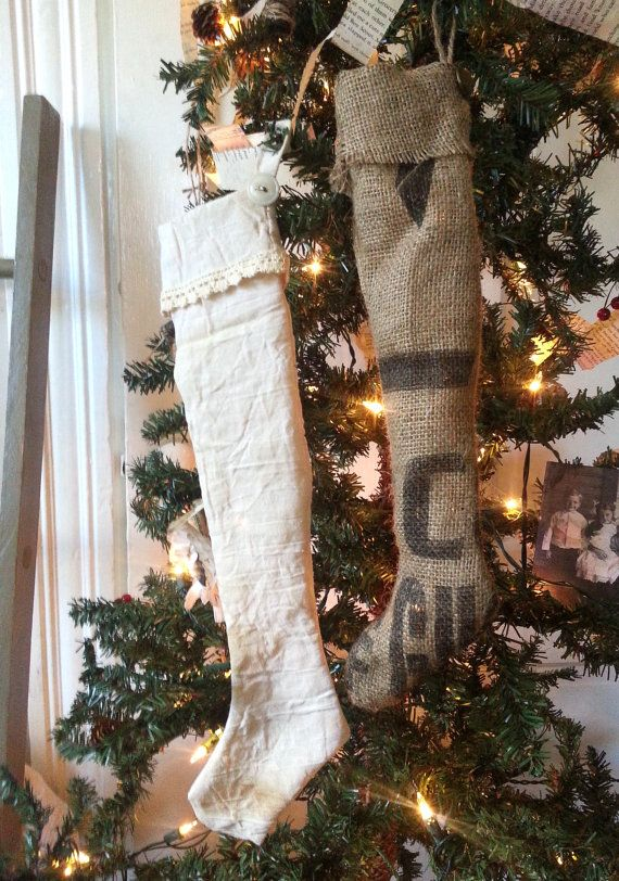 Vintage Shabby Holiday STOCKINGS Tea Stained Muslin or Burlap Decor Ornament Gift Giving OLD TYME Collection
