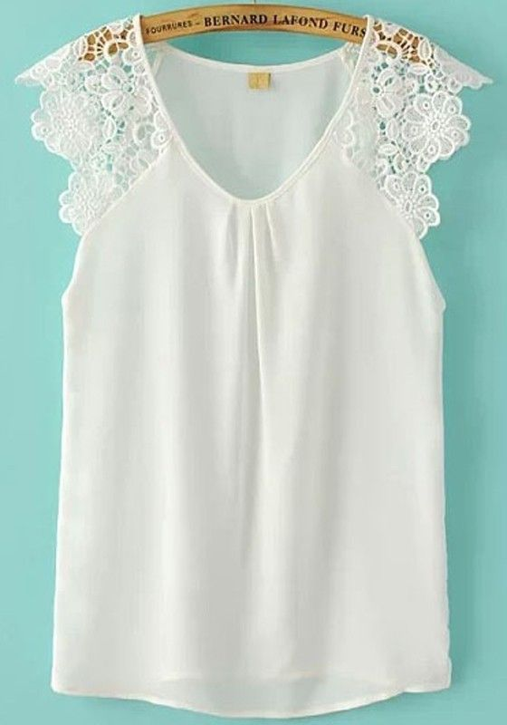 $20.00 White Patchwork Lace Sleeveless Wrap Blouse