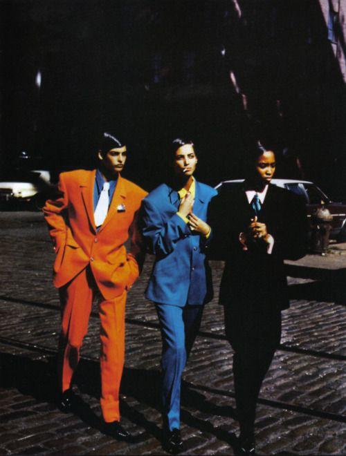 """Stile Gangster"", Vogue Italia, February 1991  Photographer: Peter Lindbergh  Models: Naomi Campbell, Linda Evangelista, Christy Turlington  Stylist: Elizabeth Dijan"