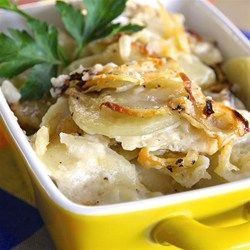 Mom's Scalloped Potatoes Allrecipes.com ~ This is the way my mother always made her scalloped potatoes. The measurements are taken from other recipes because she always just winged it, but the method is the same (except heating the milk, she never did).  I remember her adding to the recipe with bacon or cheddar cheese when she was feeling creative...yum.