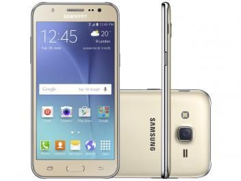 "Smartphone Samsung Galaxy J5 Duos 16GB Dourado - Dual Chip 4G Câm. 13MP + Selfie 5MP Flash Tela 5"" sem cartão"