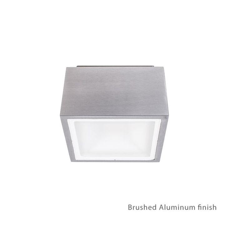 "Modern Forms FM-W9200 Bloc 1 Light 6"" Wide LED Outdoor Flush Mount Ceiling Fixtu Brushed Aluminum Outdoor Lighting Ceiling Fixtures Flush Mount"