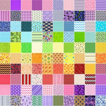 10x10 (289 pieces) Credits: Spoonflower, Timeless Treasures, Riley Blake Designs, Zazzle. Puzzle created by rempel