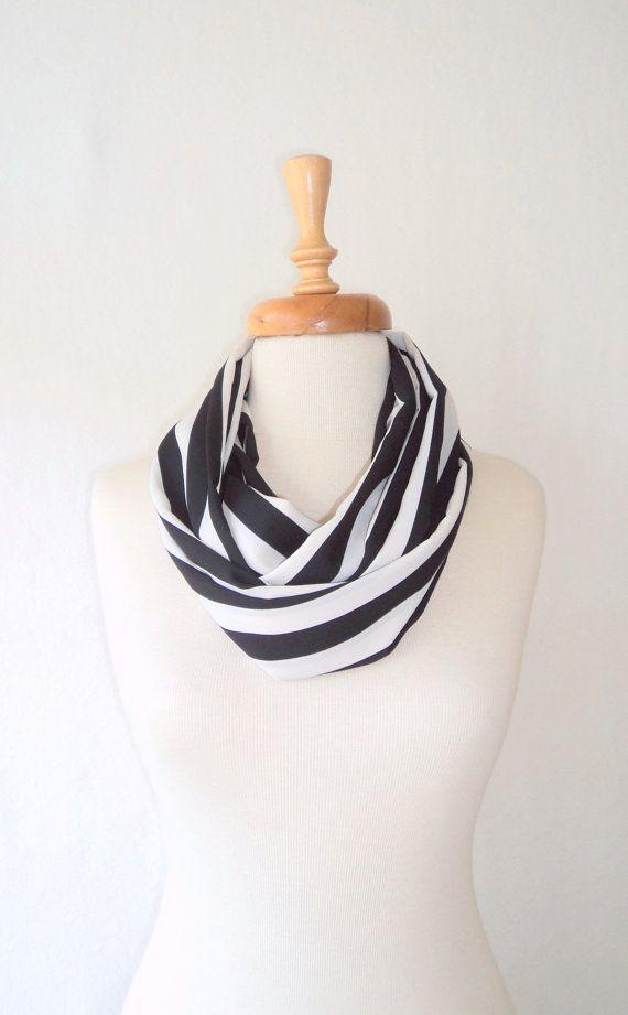ON SALE SlimLine Scarf Loop Scarf Black and White by bestbazaar, $20.00