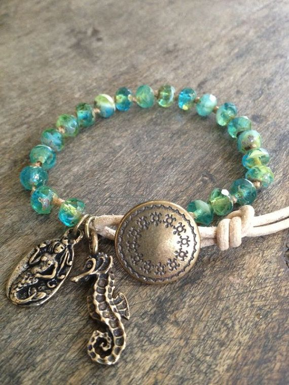 Ocean Life Hand Knotted & Leather Wrap Bracelet Beach Chic