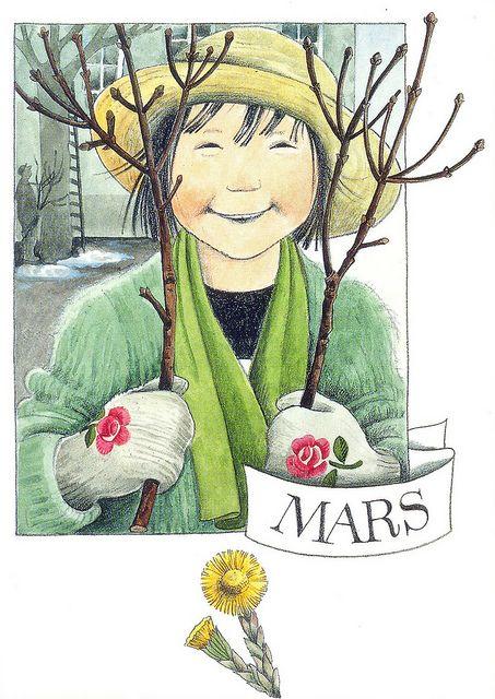 Mars le mois du ✿Printemps✿ par Lena Anderson (1939) illustratrice suédoise.