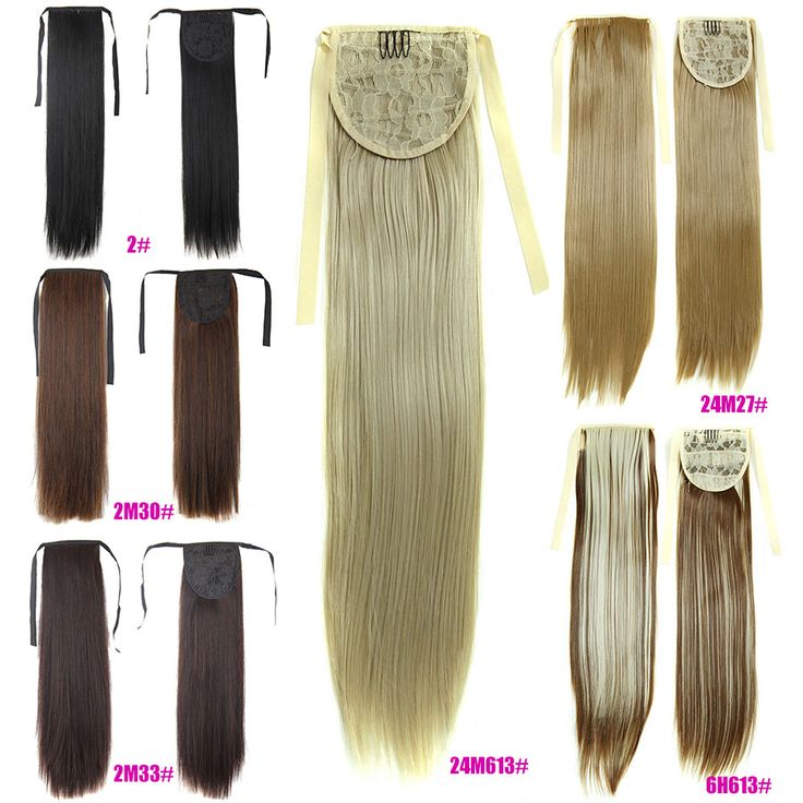 Long Straight 23'' Ponytail 60cm Magic Fake Pony Hair Extensions False Hair Tails Wrap on Horse Tress Hairpieces Halloween Party
