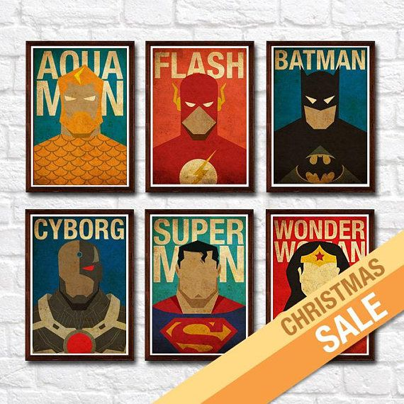 Set includes of: 1 Aquaman 1 Wonder Woman 1 Cyborg 1 Batman 1 Flash 1 Superman *** All images used are for illustrative purposes only. Not the actual poster size. *** NOTE: You can swap the prints with any superheroes listed in my shop. Just let me know your request under Note to