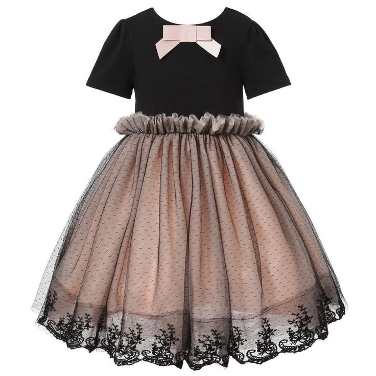 Richie House Girl's Short Sleeve Dress with Layered Bottom Size 3-10 RH1583