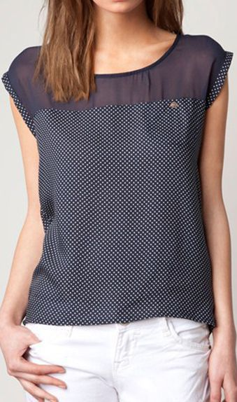 Sleeveless round collar organza blouse 1840 Dark blue