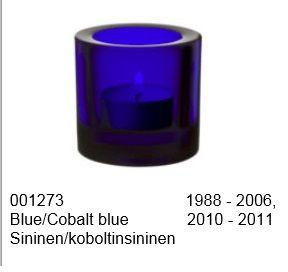 Iittala Kivi tuikku Sininen/koboltinsininen 60 mm (mieluiten se tarra kii)