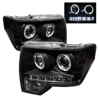 Ford F150 2009-2012 Black Dual Halo Projector Headlights with LED Daytime Running