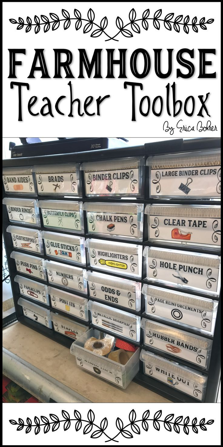 Farmhouse Teacher Toolbox - Stay organized with this teacher toolbox.  It is perfect for your farmhouse style classroom.
