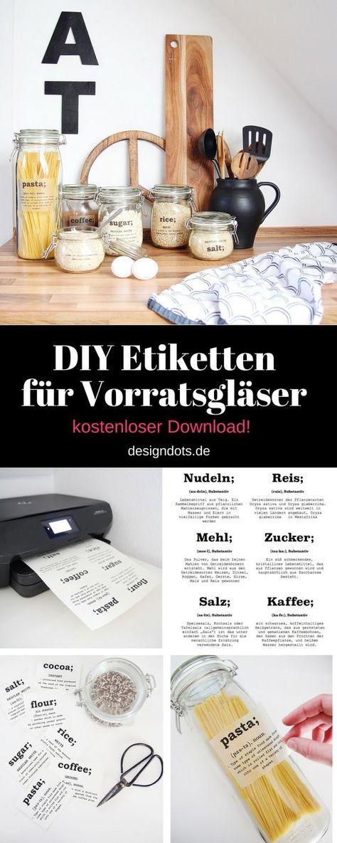 DIY Etiketten für Vorratsgläser zum downloaden und ausrucken! Hier könnt ihr verschiedene transparente Labels runterladen und die Vorratsgläser selbst verschönern!