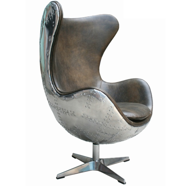 Just arrived Harlow Spitfire chair olive leather with alu back, very special piece.