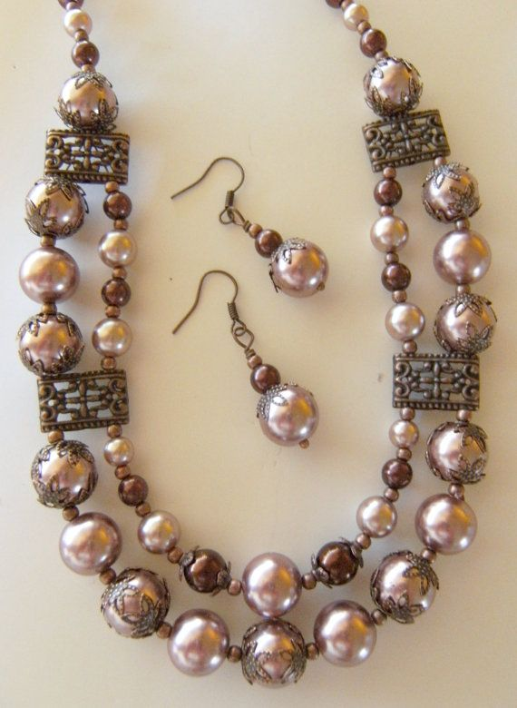 Dusty Mauve and Brown Pearl Necklace Set with Copper Accents , Womens Accessories , Gifts for Her